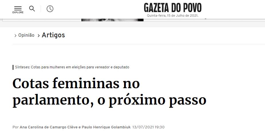 Membros do Iprade publicam artigo na Gazeta do Povo em defesa das cotas femininas no parlamento