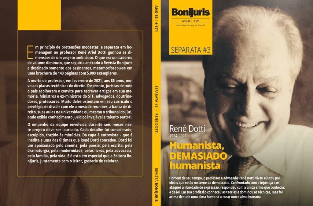 Presidente do Iprade homenageia René Dotti em artigo na Bonijuris